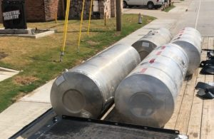 Industrial fuel tanks on truck after service