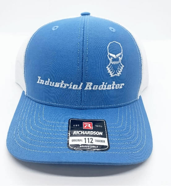 Blue Richardson trucker hat with embroidered Industrial Radiator logo