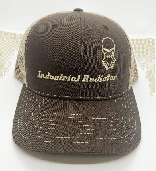 Brown Richardson trucker hat with embroidered Industrial Radiator logo