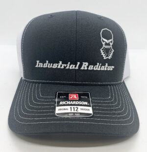 Gray Richardson trucker hat with embroidered Industrial Radiator logo
