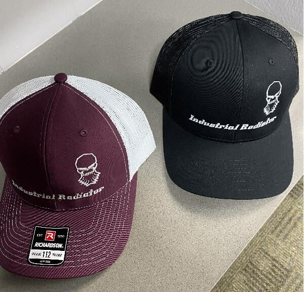 Black and maroon Richardson trucker hats with embroidered Industrial Radiator logo