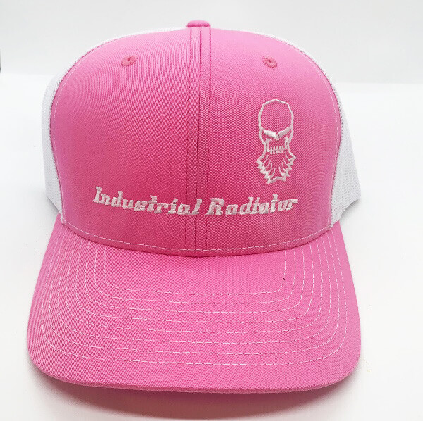 Pink Richardson trucker hat with embroidered Industrial Radiator logo