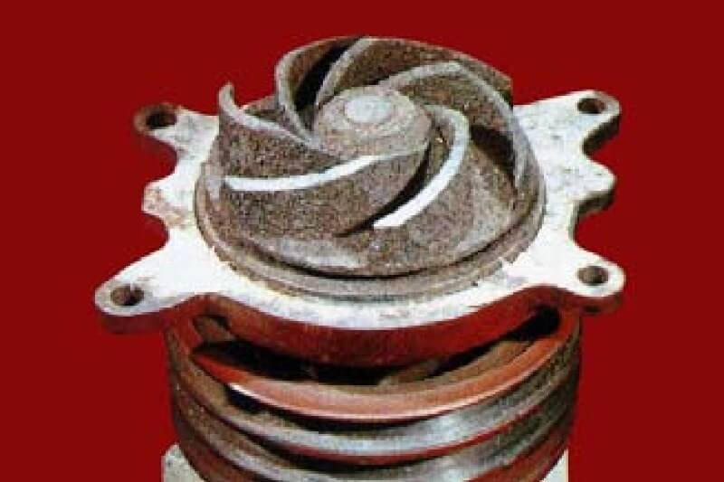 scale deposit on water pump in diesel engine cooling system
